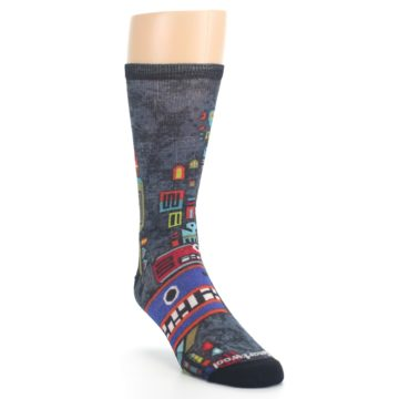 Image of Charcoal Multicolor Totem Monster Print Wool Men's Casual Socks (side-1-front-02)