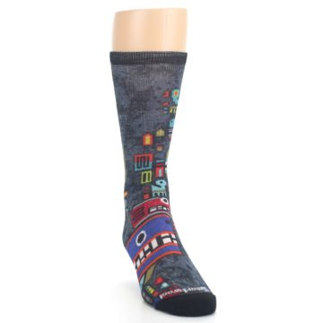 Image of Charcoal Multicolor Totem Monster Print Wool Men's Casual Socks (side-1-front-03)