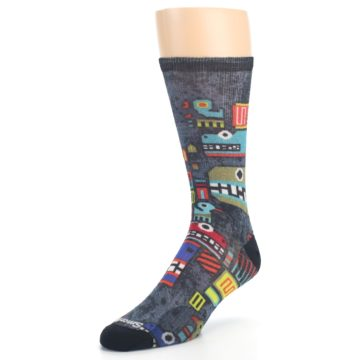 Image of Charcoal Multicolor Totem Monster Print Wool Men's Casual Socks (side-2-front-08)