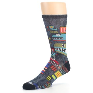 Image of Charcoal Multicolor Totem Monster Print Wool Men's Casual Socks (side-2-09)
