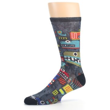 Image of Charcoal Multicolor Totem Monster Print Wool Men's Casual Socks (side-2-10)