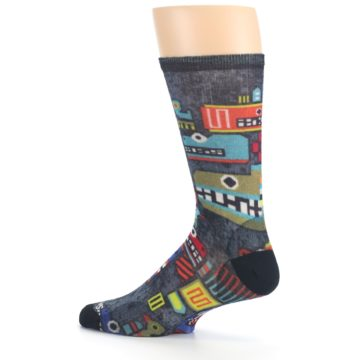 Image of Charcoal Multicolor Totem Monster Print Wool Men's Casual Socks (side-2-13)