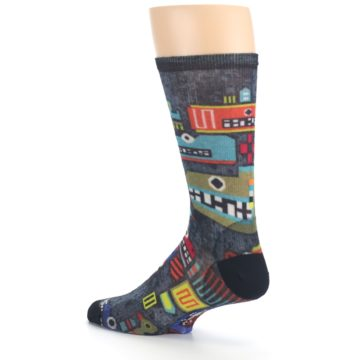Image of Charcoal Multicolor Totem Monster Print Wool Men's Casual Socks (side-2-back-14)