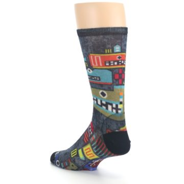 Image of Charcoal Multicolor Totem Monster Print Wool Men's Casual Socks (side-2-back-15)