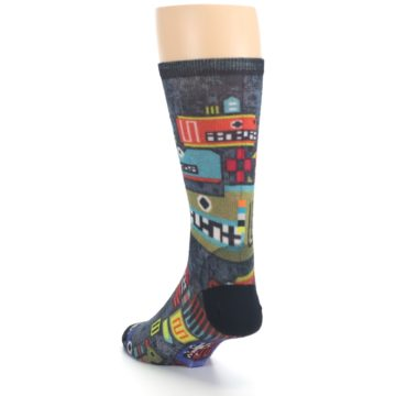 Image of Charcoal Multicolor Totem Monster Print Wool Men's Casual Socks (side-2-back-16)