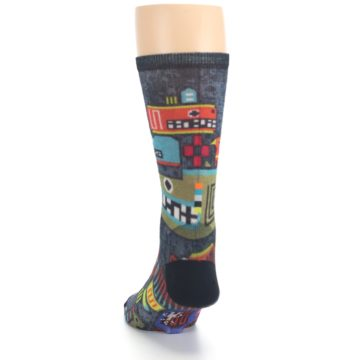 Image of Charcoal Multicolor Totem Monster Print Wool Men's Casual Socks (back-17)