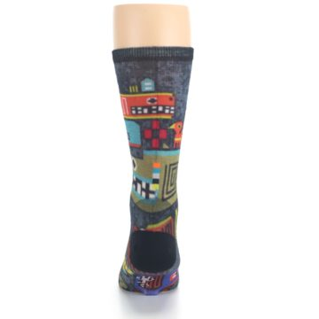 Image of Charcoal Multicolor Totem Monster Print Wool Men's Casual Socks (back-18)