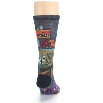 Image of Charcoal Multicolor Totem Monster Print Wool Men's Casual Socks (back-19)
