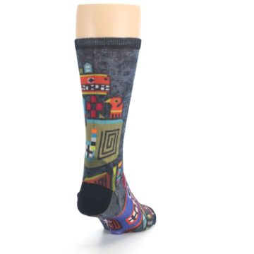 Image of Charcoal Multicolor Totem Monster Print Wool Men's Casual Socks (side-1-back-20)