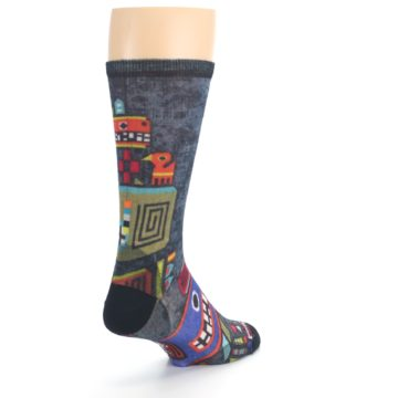 Image of Charcoal Multicolor Totem Monster Print Wool Men's Casual Socks (side-1-back-21)