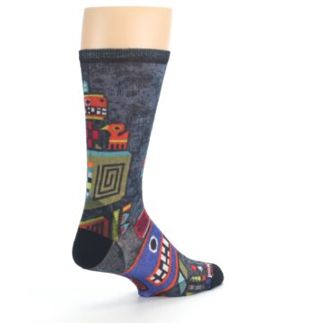 Image of Charcoal Multicolor Totem Monster Print Wool Men's Casual Socks (side-1-back-22)