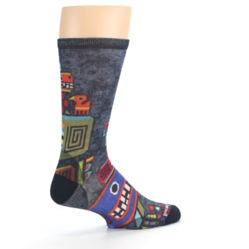 Image of Charcoal Multicolor Totem Monster Print Wool Men's Casual Socks (side-1-23)