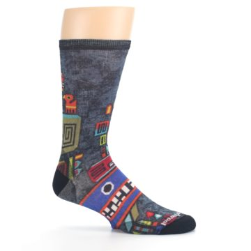 Image of Charcoal Multicolor Totem Monster Print Wool Men's Casual Socks (side-1-25)