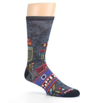 Image of Charcoal Multicolor Totem Monster Print Wool Men's Casual Socks (side-1-26)