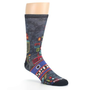 Image of Charcoal Multicolor Totem Monster Print Wool Men's Casual Socks (side-1-27)