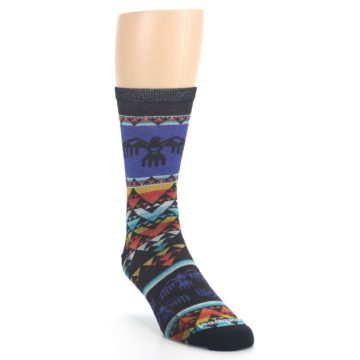 Image of Blue Multicolor Bird Geo Print Wool Men's Casual Socks (side-1-front-02)