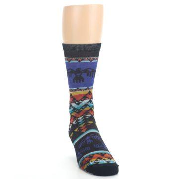Image of Blue Multicolor Bird Geo Print Wool Men's Casual Socks (side-1-front-03)