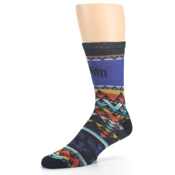 Image of Blue Multicolor Bird Geo Print Wool Men's Casual Socks (side-2-09)