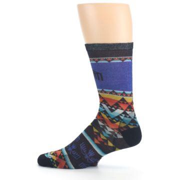 Image of Blue Multicolor Bird Geo Print Wool Men's Casual Socks (side-2-12)