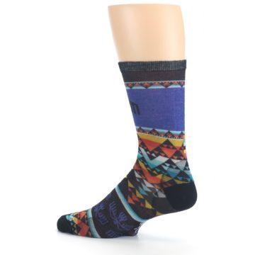 Image of Blue Multicolor Bird Geo Print Wool Men's Casual Socks (side-2-13)