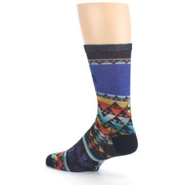 Image of Blue Multicolor Bird Geo Print Wool Men's Casual Socks (side-2-back-14)