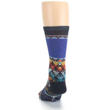 Image of Blue Multicolor Bird Geo Print Wool Men's Casual Socks (back-17)