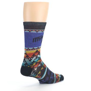 Image of Blue Multicolor Bird Geo Print Wool Men's Casual Socks (side-1-back-22)