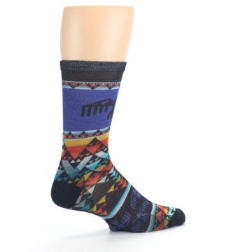 Image of Blue Multicolor Bird Geo Print Wool Men's Casual Socks (side-1-23)