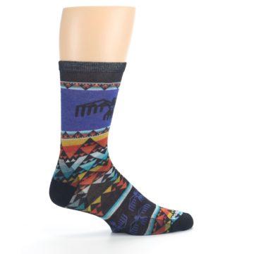 Image of Blue Multicolor Bird Geo Print Wool Men's Casual Socks (side-1-24)