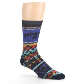 Image of Blue Multicolor Bird Geo Print Wool Men's Casual Socks (side-1-26)
