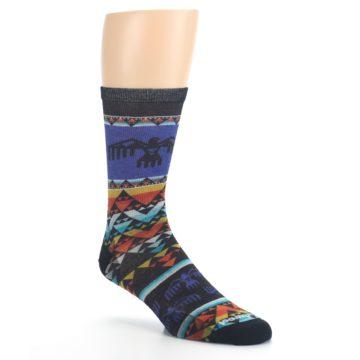 Image of Blue Multicolor Bird Geo Print Wool Men's Casual Socks (side-1-27)