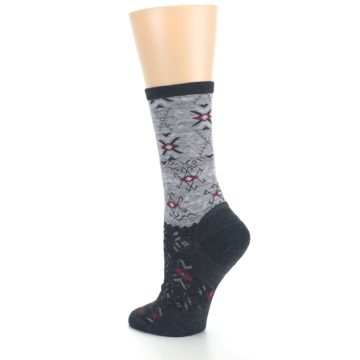 Image of Charcoal Heather Falling Arrow Wool Women's Casual Socks (side-2-back-15)