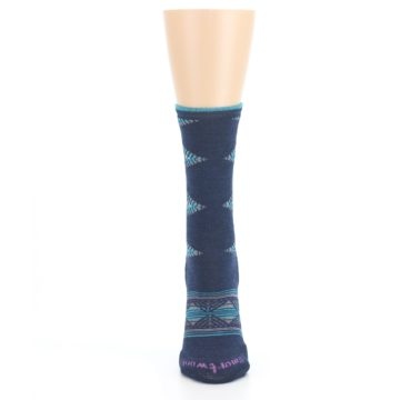 Image of Navy Teal Purple Tiva Wool Women's Casual Socks (front-05)