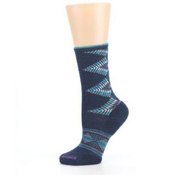 Image of Navy Teal Purple Tiva Wool Women's Casual Socks (side-2-11)