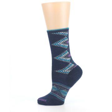 Image of Navy Teal Purple Tiva Wool Women's Casual Socks (side-2-12)
