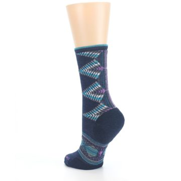 Image of Navy Teal Purple Tiva Wool Women's Casual Socks (side-2-back-15)