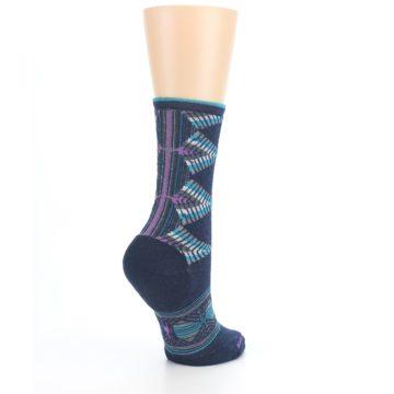 Image of Navy Teal Purple Tiva Wool Women's Casual Socks (side-1-back-22)