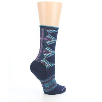 Image of Navy Teal Purple Tiva Wool Women's Casual Socks (side-1-23)