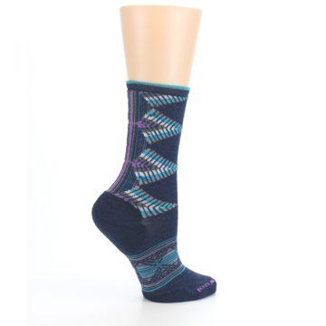 Image of Navy Teal Purple Tiva Wool Women's Casual Socks (side-1-24)