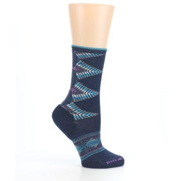 Image of Navy Teal Purple Tiva Wool Women's Casual Socks (side-1-25)