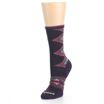 Image of Bordeaux Pink Green Tiva Wool Women's Casual Socks (side-2-front-08)