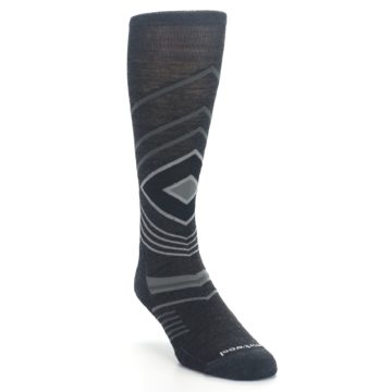 Image of Charcoal Heather High Crest Wool Men's Casual Socks (side-1-front-02)