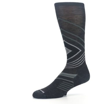 Image of Charcoal Heather High Crest Wool Men's Casual Socks (side-2-10)