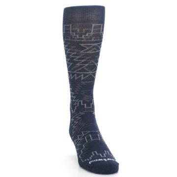 Image of Navy Gray Ruiz Wool Men's Casual Socks (side-1-front-03)
