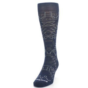 Image of Navy Gray Ruiz Wool Men's Casual Socks (side-2-front-06)