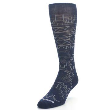 Image of Navy Gray Ruiz Wool Men's Casual Socks (side-2-front-07)