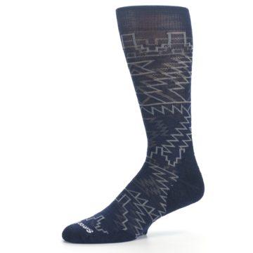 Image of Navy Gray Ruiz Wool Men's Casual Socks (side-2-10)