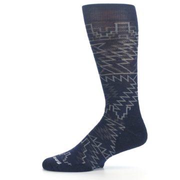 Image of Navy Gray Ruiz Wool Men's Casual Socks (side-2-11)