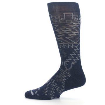 Image of Navy Gray Ruiz Wool Men's Casual Socks (side-2-12)