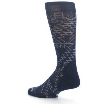 Image of Navy Gray Ruiz Wool Men's Casual Socks (side-2-back-14)